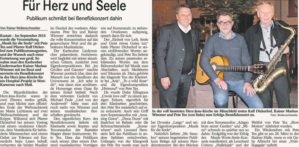 2. Februar 2020, Badisches Tagblatt  Musik und Worte für die Seele Pfarrkirche Herz-Jesu, Rastatt